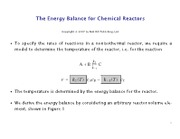 The Energy Balance for Chemical Reactors