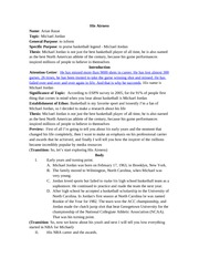 michael jordan informative speech outline Free essay: name: byron lloyd topic: michael jordan general purpose: to  inform  informative speech outlines guide complete this form.