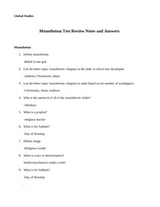 Monotheism Test Review Key