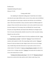 Independent Reading Self-analysis Essay