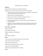 Marketing Introduction Lecture Notes