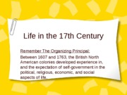 Life in 17th century society culture economy