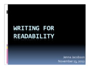 Lecture #9 - Writing for Readability