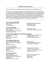 Study Guide Final Exam SP2009