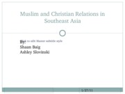 Muslim and Christian Relations in Southeast Asia