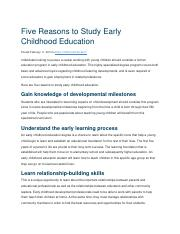 Five Reasons to Study Early Childhood Education.docx