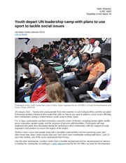 Youth depart UN leadership camp with plans to use sport to tackle social issues