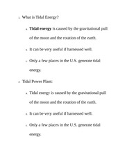 What is Tidal Energy Class Notes