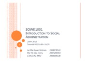 SOWK1001 Introduction to Social Administration