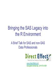 Bringing the SAS Legacy into the R Environment