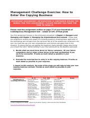 Management Challenge - How to Enter the Copying Business