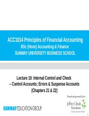 Lecture 10 (Chp 21 & 22) - Control Accounts; Errors & Suspense Accounts(1)