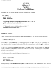 Computer Science 61B - Fall 2001 - Hilfinger - Midterm 1