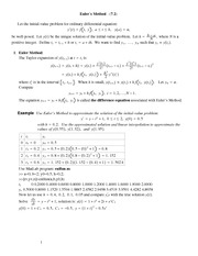 Lecture Notes on Euler's Method