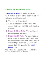 Lecture 10 on Red-Black Trees