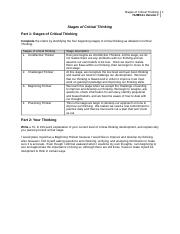 Stages of Critical Thinking Worksheet