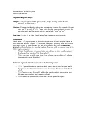Assignment - Ungraded Response Paper