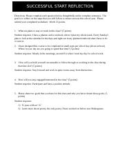 Success Start Reflection Worksheet
