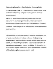 Accounting Cycle for a Manufacturing Company Notes