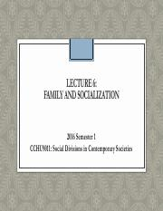 CCHU9011_L6a_Family and socialization