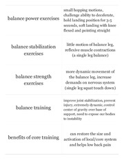Core and Balance Quiz