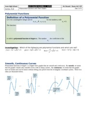 Section 3.2 - Polynomial Functions and Their Graphs
