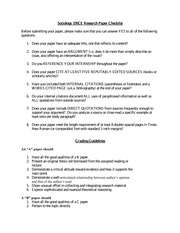 Paper Checklist and Grading Guidelines