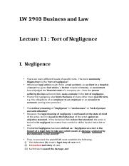 Lecture 11 - Tort of Negligence