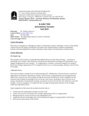 Information Systems Syllabus