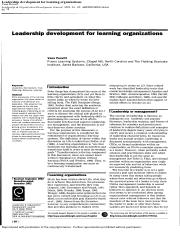 Prewitt - Leadership development for learning organisations