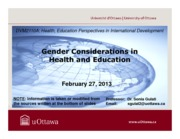 LECTURE 7 - Gender Considerations in Health and Education