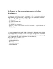 Reflection on the Renaissance. Response paper(1)