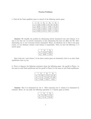 Practice Exam 1 on Game Theory Spring 2015