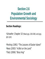 2.6 Population Growth and Environmental Sociology