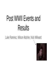 Post WWII Events and Results