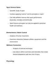 Sport Science Notes