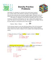 Density Problems Answer Key Density Practice Problems The Density