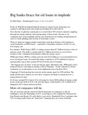 #2 - Big banks brace for oil loans to implode