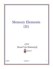 Lecture 7 - Memory