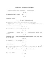 Lecture Notes on Inverse of a Matrix