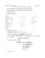 Math 11 - 2010 Summer - Review Problems - Exam 1 - Solutions
