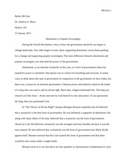 Essay - Absolutism vs Popular Sovereignty