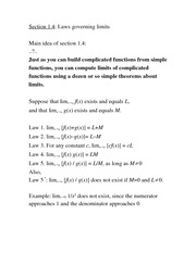 Lecture Notes laws of limits