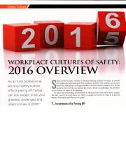 WORKPLACE CULTURES OF SAFETY 2016 OVERVIEW