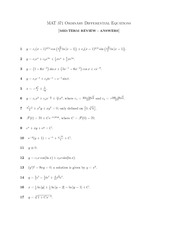 MAT 371 ORDINARY DIFFERENTIAL EQUATIONS MID-TERM REVIEW - ANSWERS 1