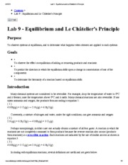 Lab 9 - Equilibrium and Le Châtelier's Principle