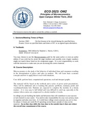 On-line Micro Syllabus Winter 2013