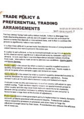 Trade Policy and Preferential Trading Arrangements