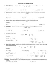 Math 1094 Exponoent Sheet notes