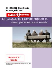 CHCICS301B Provide support to meet personal care needs AGV3.0